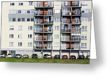 Windows  Balconies  Cars And Lawn  Of A Multiroom Apartment Hous Greeting Card
