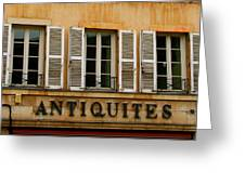 Windows Of Antiquites Greeting Card