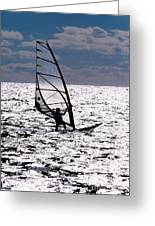 windsurfer rides the water at West Dennis Beach on Cape Cod Greeting Card