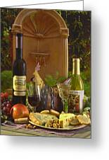 Wine At The Fountain Greeting Card