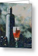 Wine Bottle And Glass Greeting Card
