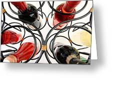 Wine Bottles In Curved Wine Rack Greeting Card