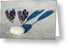 Wine Glass With Grapes Greeting Card