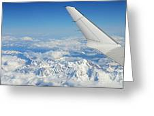Wings Of Flying Airplane Over French Alps Greeting Card