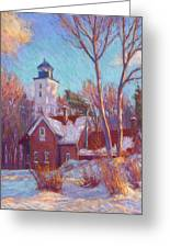 Winter At The Lighthouse Greeting Card