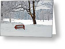 Winter Beach Sign Greeting Card by Aimee L Maher Photography and Art Visit ALMGallerydotcom