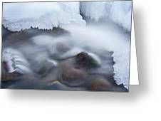 Winter Creek Framed By Ice Greeting Card