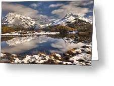 Winter Dawn Reflection Of Mount Greeting Card by Colin Monteath