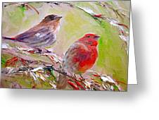 Winter Finches Greeting Card