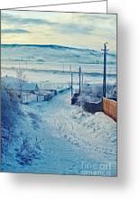 Winter In Romanian Countryside Greeting Card by Gabriela Insuratelu