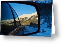 Winter Landscape Seen Through A Car Mirror Greeting Card