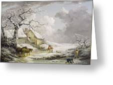 Winter Landscape With Men Snowballing An Old Woman Greeting Card