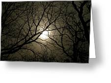 Winter Moon On A Cold Foggy Winter Night Greeting Card
