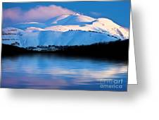 Winter Mountains And Lake Snowy Landscape Greeting Card by Anna Om