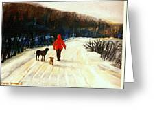 Winter Road Quebec Laurentian Landscape Greeting Card