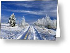 Winter Rural Road Greeting Card