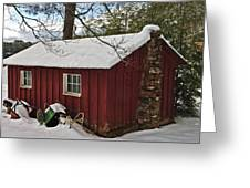 Winter Shed Greeting Card by Susan Leggett