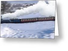 Winter Steam Train Greeting Card