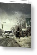 Winter Street Scene With A Car In A Small Town  Greeting Card by Sandra Cunningham