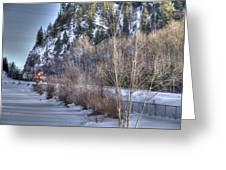 Winter Train Greeting Card