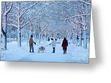Winter Twilight Walk Greeting Card