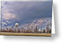 Winter Water Tower Sky Greeting Card