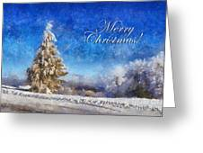 Wintry Christmas Tree Greeting Card Greeting Card by Lois Bryan