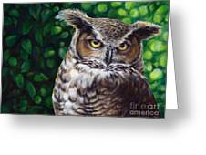 Wisdom Great Horned Owl Greeting Card