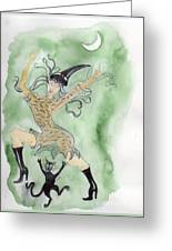 Witches Dance With Cats On Halloween Greeting Card