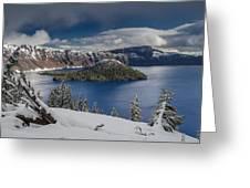 Wizard Island After Summer Snowfall Greeting Card