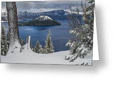 Wizard Island Through Trees Greeting Card