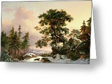 Wolves In A Winter Landscape Greeting Card