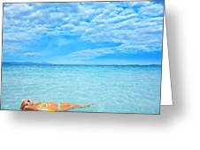 Woman And Ocean Greeting Card