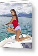 Woman Boating At Kaneohe Greeting Card