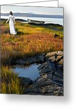 Woman By Boat On Grassy Shore Greeting Card