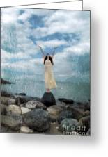 Woman By The Sea With Arms Reaching Up In Praise Greeting Card
