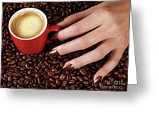 Woman Hand Holding A Cup Of Latte Greeting Card