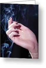 Woman Hand In A Stream Of Smoke Greeting Card
