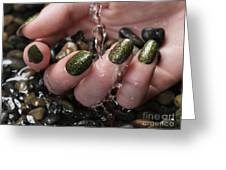Woman Hand With Fancy Nail Polish In Water Greeting Card