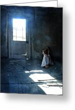 Woman Hiding In Abandoned Room Greeting Card