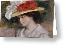 Woman In A Flowered Hat Greeting Card