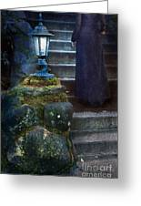 Woman In Dark Gown On Old Staircase Greeting Card