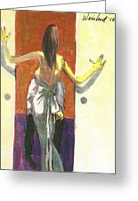 Woman In Gown French Doors Greeting Card