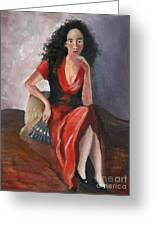 Woman In Red - Inspired By Pino Greeting Card by Kostas Koutsoukanidis