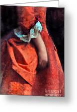 Woman In Red 18th Century Gown Greeting Card
