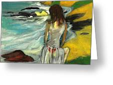 Woman In Sheer Dress By Sea 3d Greeting Card