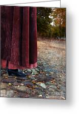 Woman In Vintage Clothing On Cobbled Street Greeting Card