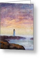 Woman In Vintage Dress At The Rocky Shore At Dawn Greeting Card