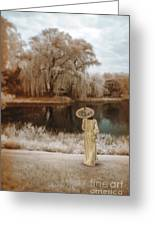 Woman In Vintage Dress With Parason By Lake Greeting Card