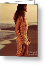 Woman In Wet Dress At The Beach Greeting Card